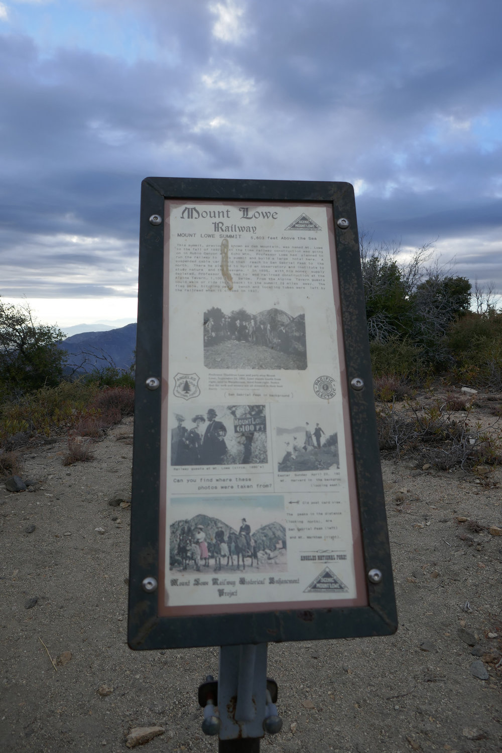 An interpretative sign to give you a little background about the mountain top you're standing on.