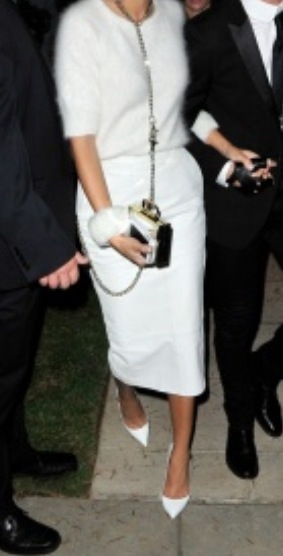Karl Lagerfeld and Choupette - Meow - white cashmere sweater,pencil skirt, Christian Louboutin