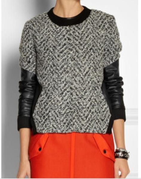 Thakoon Addition - leather sleeved tweed bomber jacket and Rag & Bone's Bomber wool-blend mini skirt