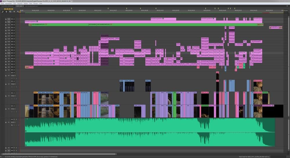 """So sieht das fertige """"Kraniche"""" Musikvideo im Schnittprogramm aus. Hier kommen Schnitt und Compositing (Video 1-6) sowie Farbkorrektur (Video 7-23) zusammen."""