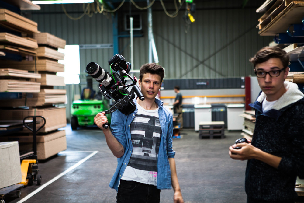 Josua und Hagen bei den Dreharbeiten bei 3b IDO (Lauffen a.N.)