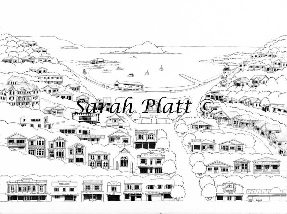 Island Bay Pen and Ink