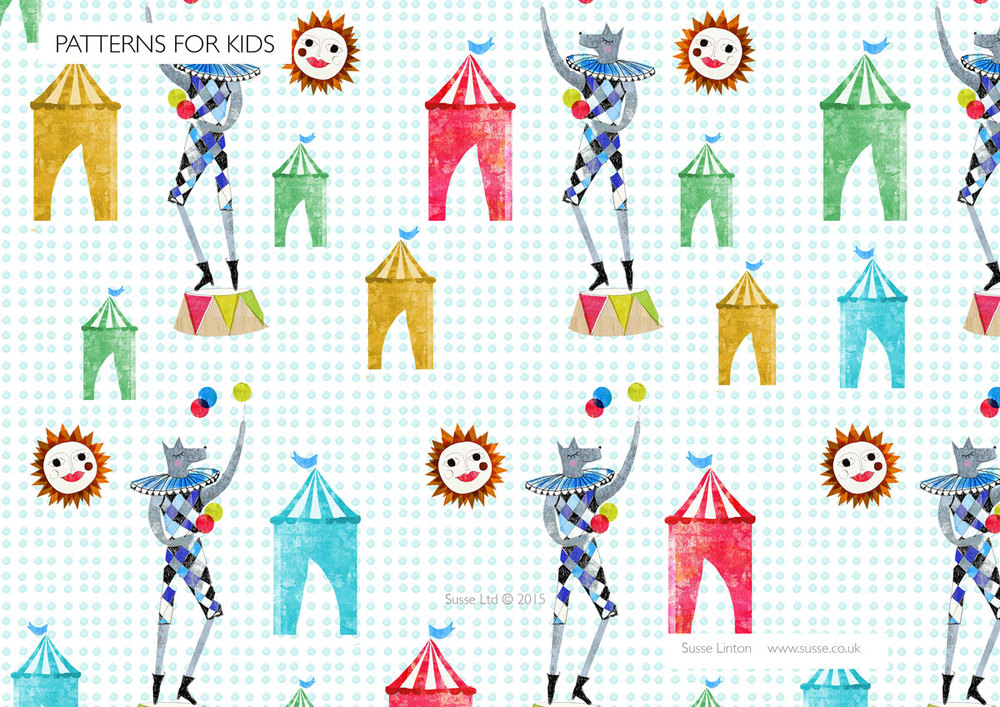 Circus dog Surface Pattern.