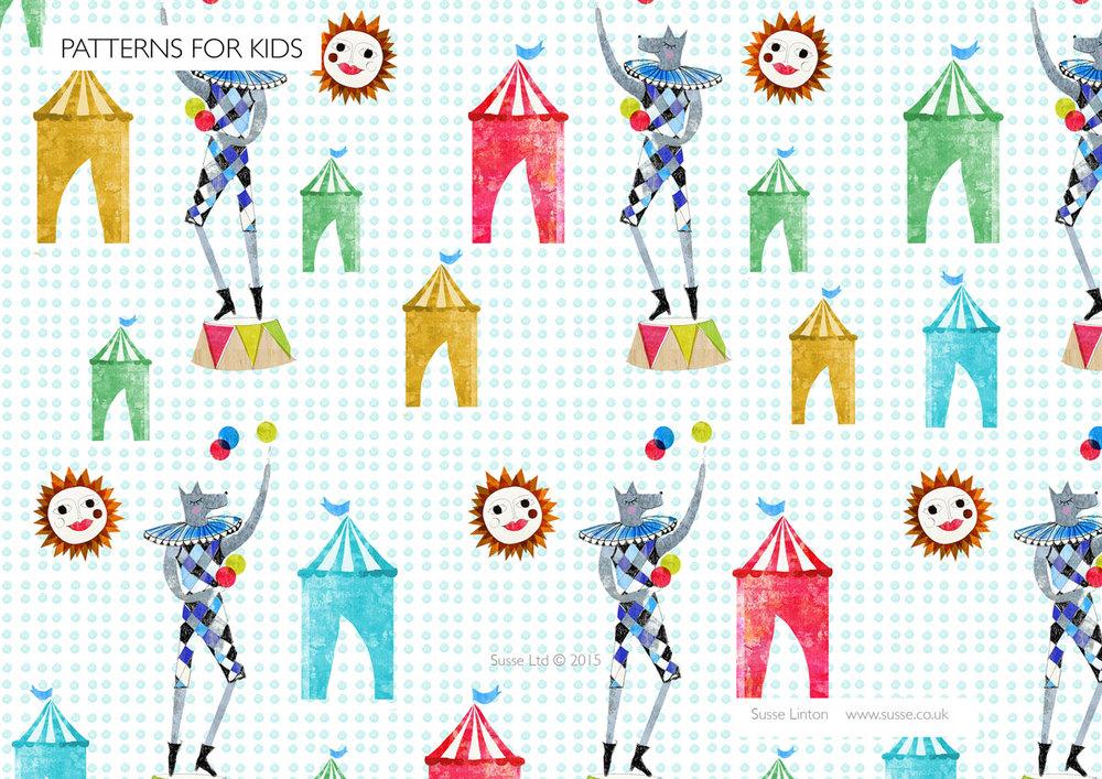 Circus dog Surface Pattern.
