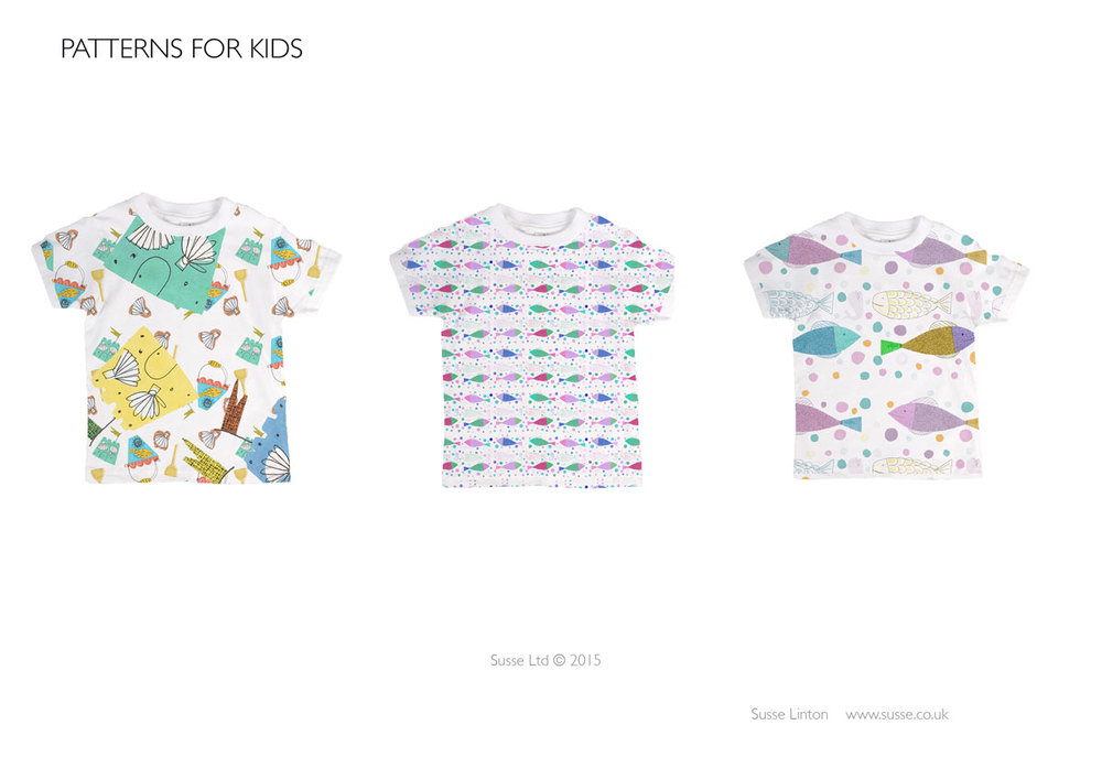 Kids t-shirt sea side patterns.