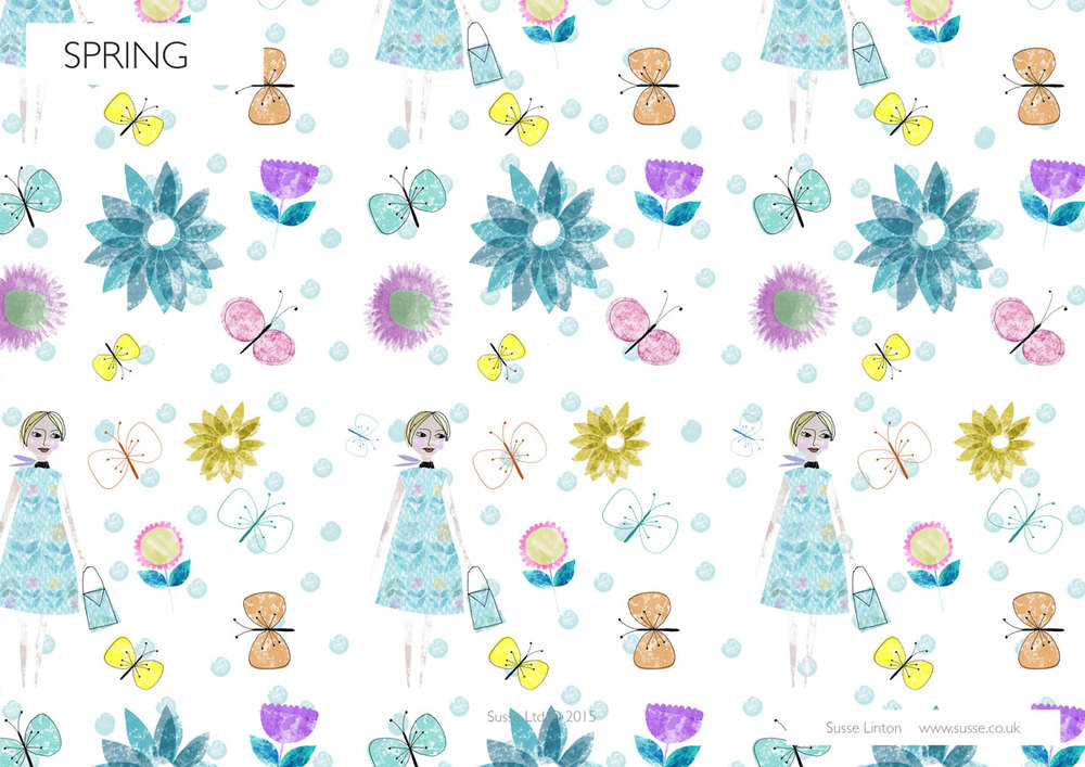 Spring girls Surface pattern.