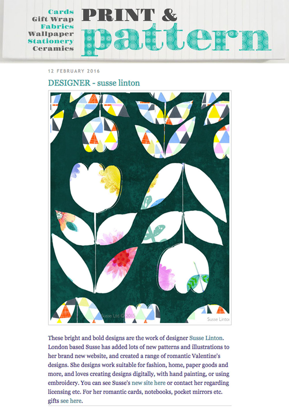 Print and Pattern Blog Susse Linton