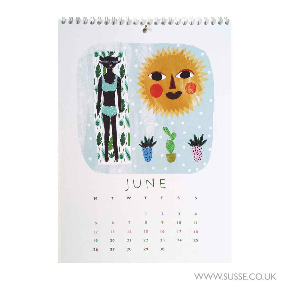Susse Collection wall calendar 2017 June Page