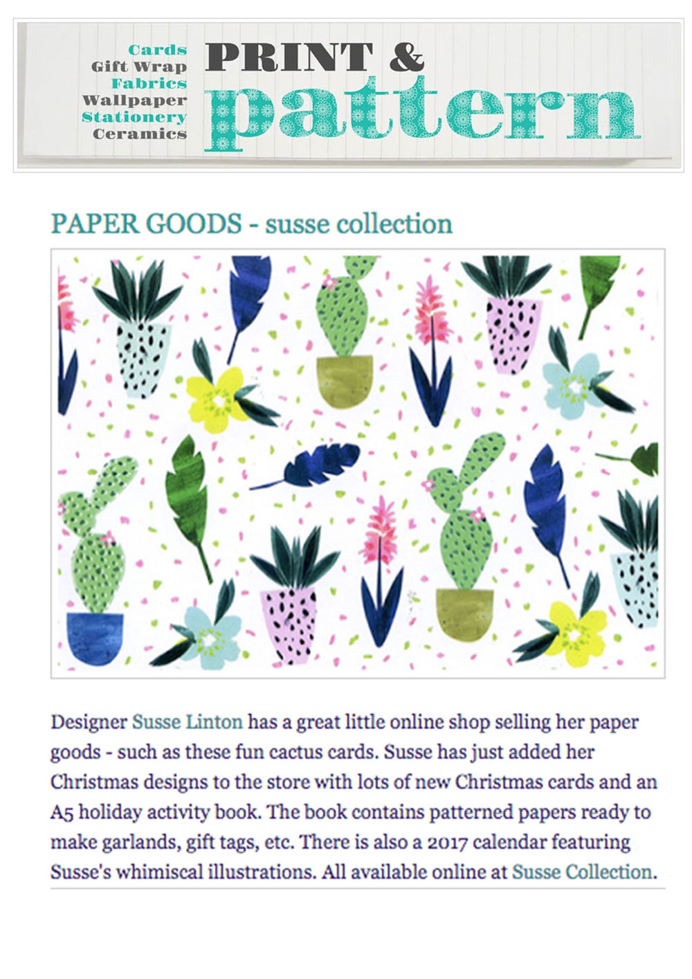 Print and Pattern blog Susse
