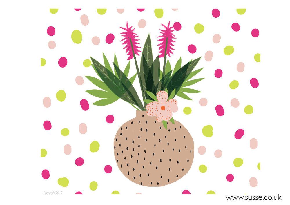 Tropical Flowers Vase