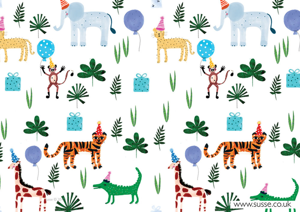 Happy Birthday Jungle Wrapping Paper