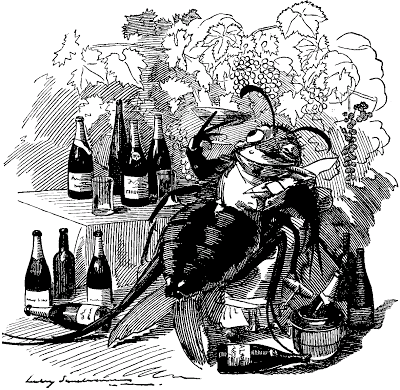 """THE PHYLLOXERA, A TRUE GOURMET, FINDS OUT THE BEST VINEYARDS AND ATTACHES ITSELF TO THE BEST WINES."" Cartoon from Punch, September 6, 1890, by Edward Linley Sambourne (January 4, 1844–August 3, 1910)."