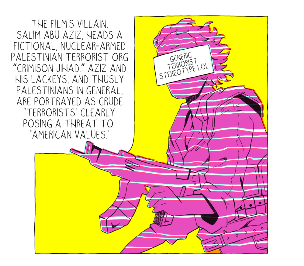 The Anti-Palestinian Propaganda You Don't Know You're Consuming (2019) - A comic published on The Nib about depictions of Palestinians in modern popular media. From True Lies to World War Z, this comic dismantles pop culture to examine the harmful messages about Palestine that lie beneath. You can read the full comic on The Nib's site by clicking here.