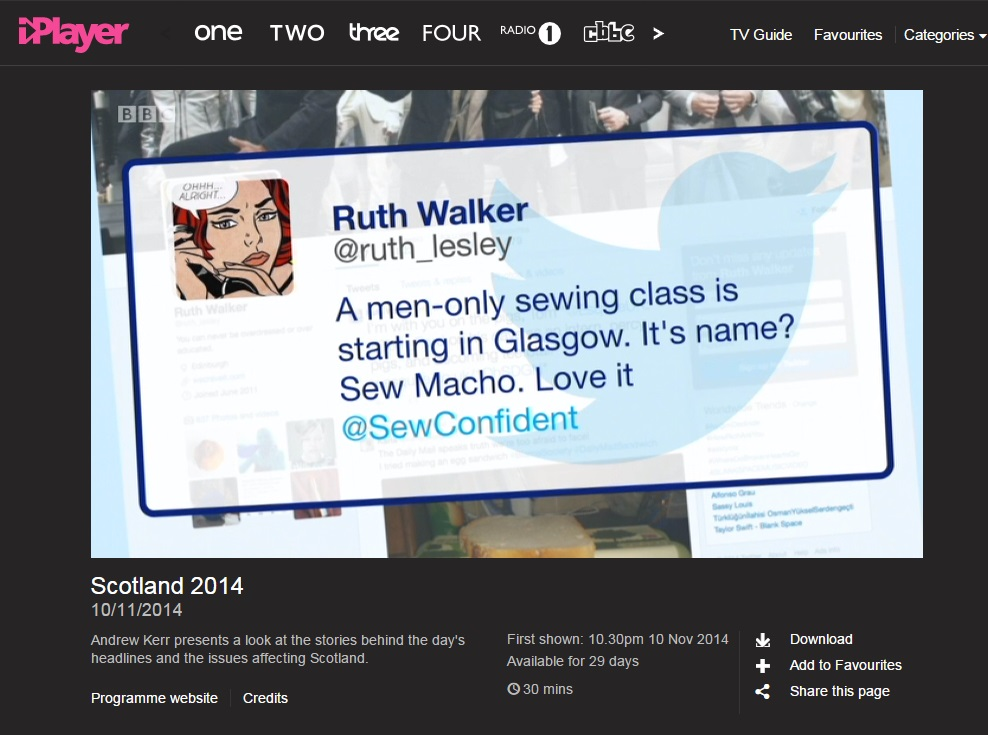 BBC2 'Scotland 2014' 10 November 2014