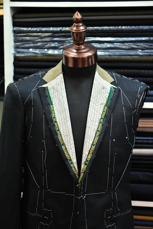 Men's suit, still being built.