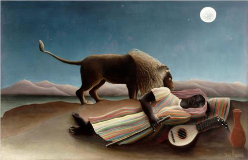 In Rousseau's painting, the lion does not eat us. The rules are different when we're asleep.