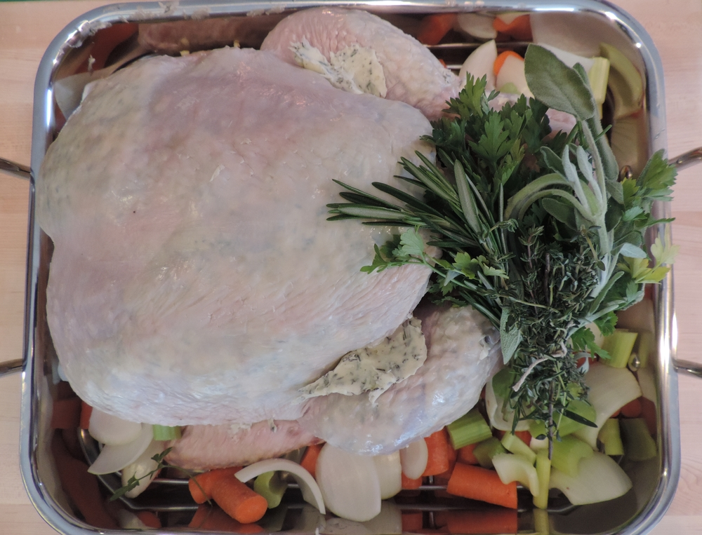 Turkey (precooked).. the herbs were inserted into the cavity before we put it in the oven.