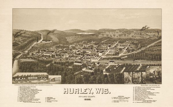 Birdseye view of Hurley in 1885