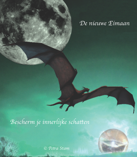 Kaart 'de nieuwe Eimaan' uit mijn kaartendeck ' De Maan - 66 mystieke kaarten voor bewustwording '