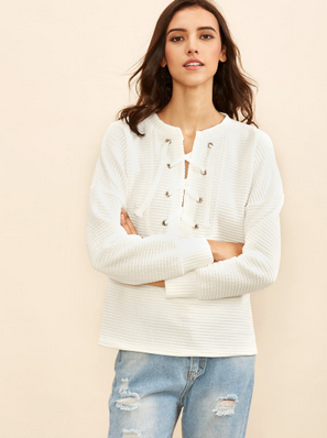 White Eyelet Lace Up Striped Embossed Sweatshirt $16.99(on sale)