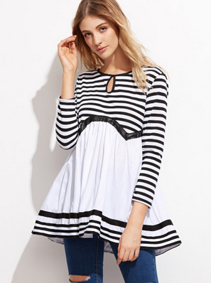 Contrast Striped Keyhole Front Peplum Blouse $17.99(on sale)