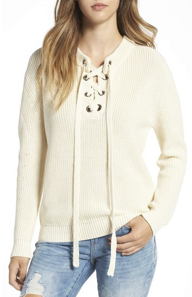 J.O.A. Lace Up Sweater from Nordstrom $75