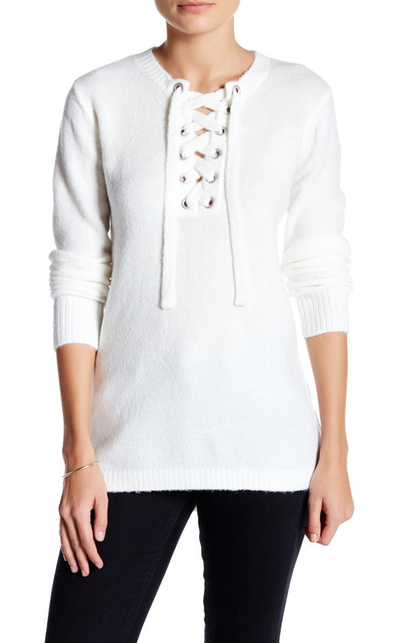 Kensie Lace Up Pullover Sweater from Nordstrom Rack $34.97(on sale)