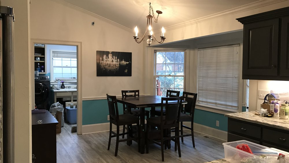 Now that all of that is taken care of I need to figure out the dining area. We have a good sized space but because of all the doors figuring out a functional layout has proven difficult. We also are still using a hand me down dining set that doesn't really fit the space. I will be testing out Havenly which is an online interior decorating service so check back for a review on that.