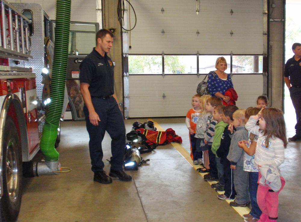 Preschool field trip to Menasha Fire Station #35