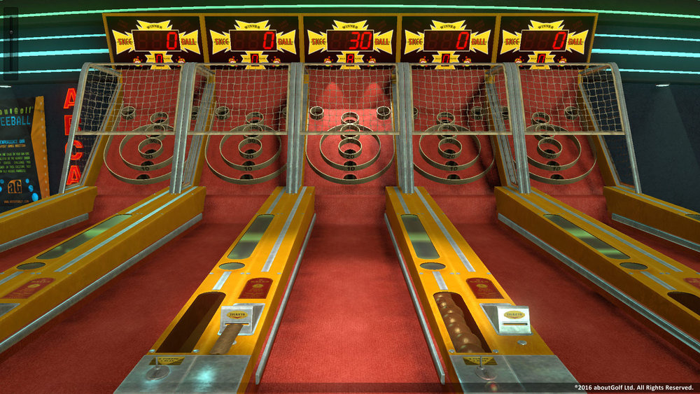 Skee-Ball modular units and arcade environment, rendered in Unity with Skyshop.