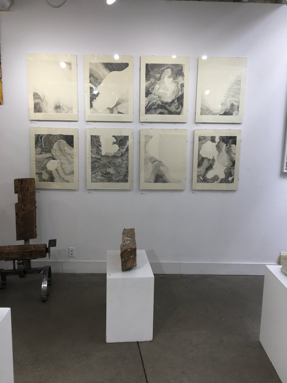Installation shot of drawings at Gallerie Chiz