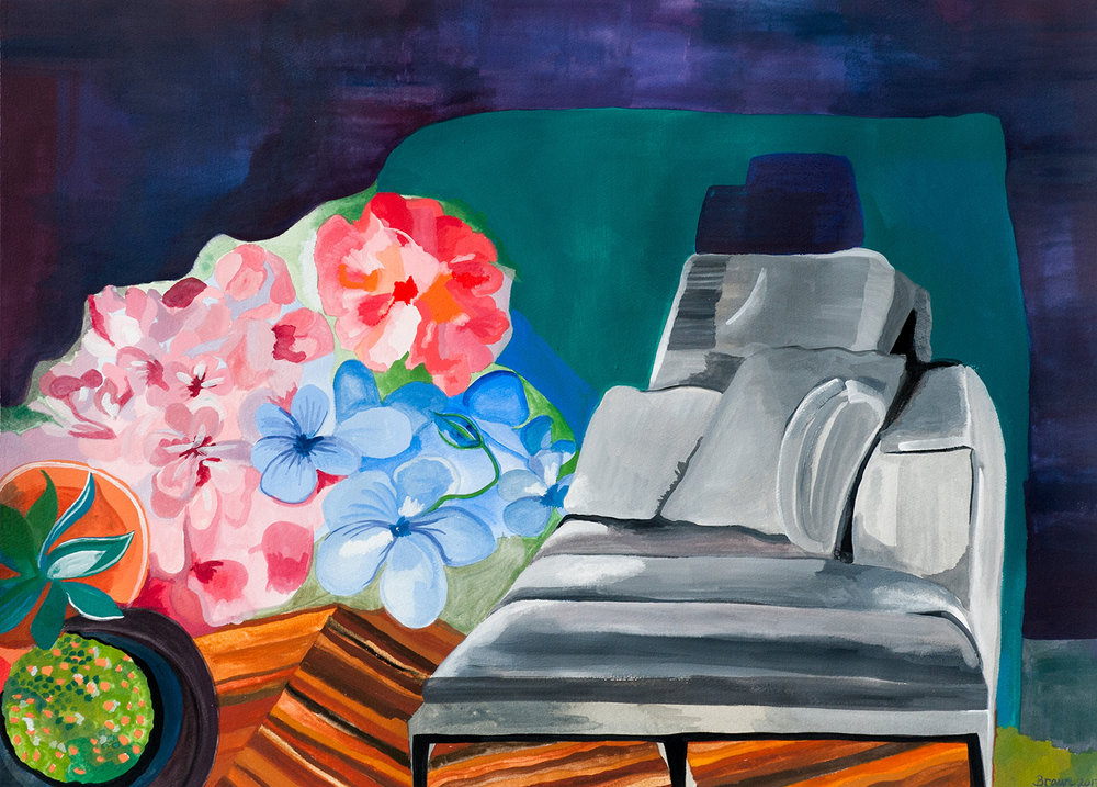 Grey Sofa with Flowers