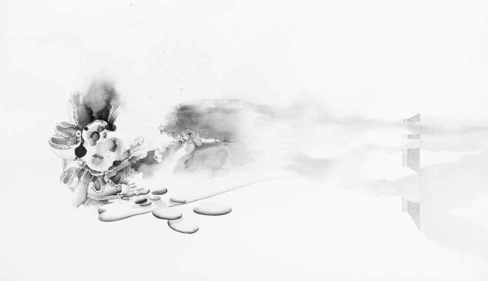 Cloud Study #6 , 2012  ink on paper  20x35 inches