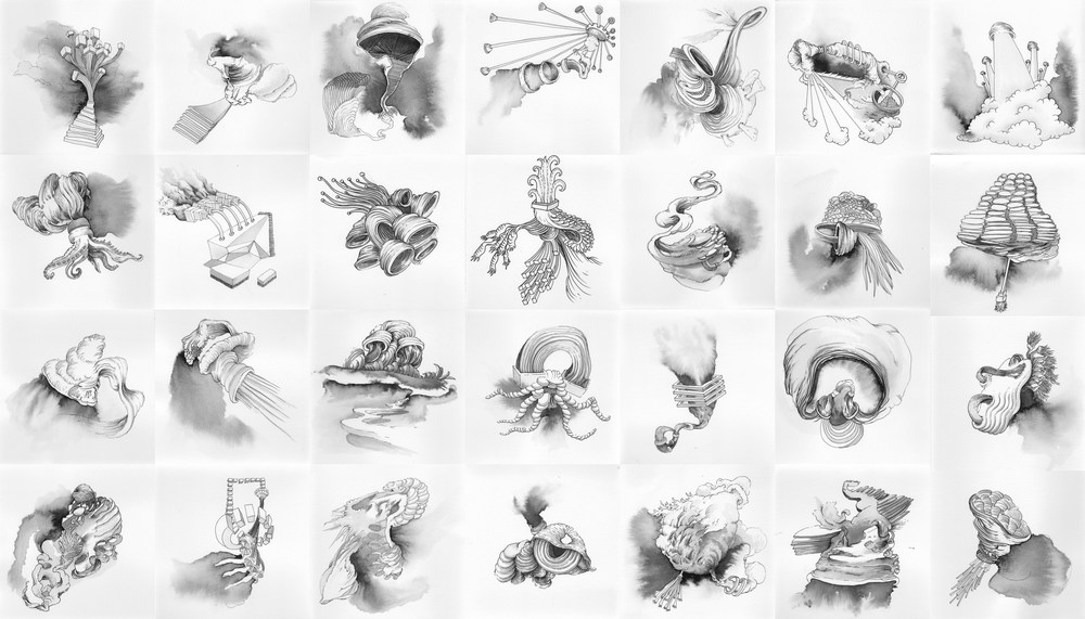 A series of 28 ink drawings, 2013  6x6 inches each