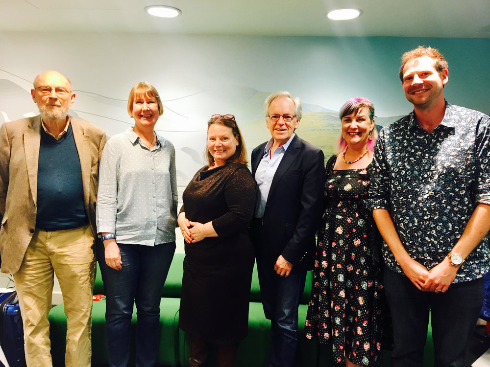 Julian Mitchell, Charlotte Green, Joanna Scanlan, Nigel Rees, Kate Fox and me, backstage at the BBC Radio Theatre