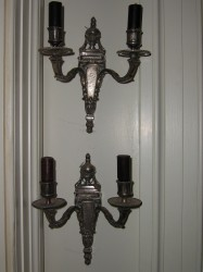 "Silver plated wall sconces - $700/pair Height: 8"" Width: 12"""