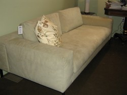 "Custom Molvedo Sofa in Ultrasuede - $8480  Height: 30.5""  Width: 82.5:  Depth: 38"""