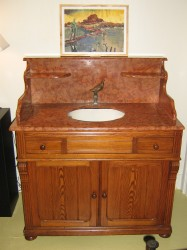 "Early 20th Cen. Marble top vanity with Garden Sink - $5500 Height: 45"" Width: 39"" Depth: 29.5"""
