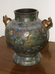 "Cloisanne Vessel with Rabbit Handles - $2200  Height: 13.5""  Width: 13""  Depth: 13"""