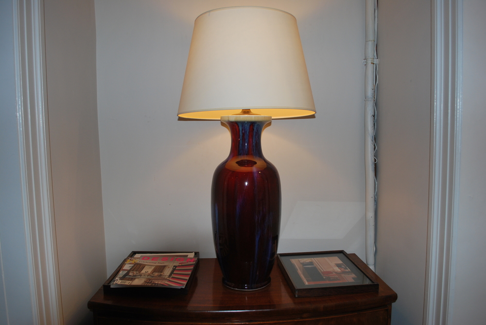 "20th Century Chinese Oxblood-$3400 Height: 24"" base Diameter: 9"" (base)"