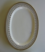 "Gold & White Greek Key Platter- $395 Height: x"" Width: 15"" Depth: 19"""