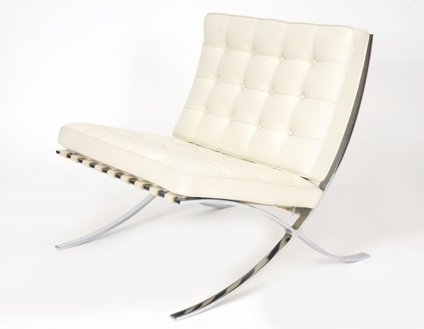 "Vintage Knoll White Leather Barcelona Chairs  - $3900  Height: 30""  Width: 30""  Depth: 30"""