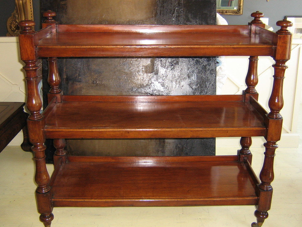 "19th Cen. English Mahogany Whatnot server  - $4800  Height: 41.5""  Width: 48""  Depth: 21.5"""
