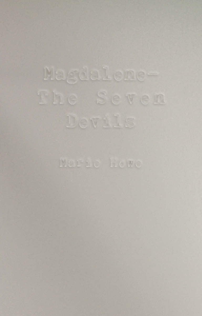 "Front cover mock up for Peter Mendelsund's class ""Read, Think, Design: Create Stunning Book Covers"" based on Marie Howe's poem ""Magdalene—The Seven Devils."""