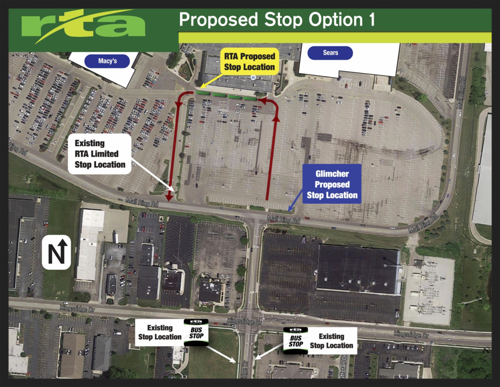 One of the proposals submitted by RTA to Glimcher shows a plan to bring buses to the mall entrance. Leaving parking space undisturbed, the proposed location would allow passengers to board and exit in front of the mall. Glimcher responded with a proposal that put the stop further from the south entrance.