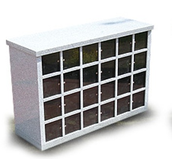 The Windsor Model Columbarium. The model contains 48 niches, 24 on each side of the unit, which will hold up to 96 urns.
