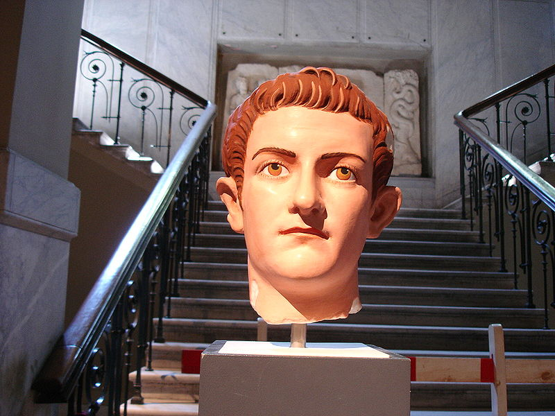 Bust of Caligula, painted.  Courtesy of  G.dallorto  via the Wikimedia Commons.