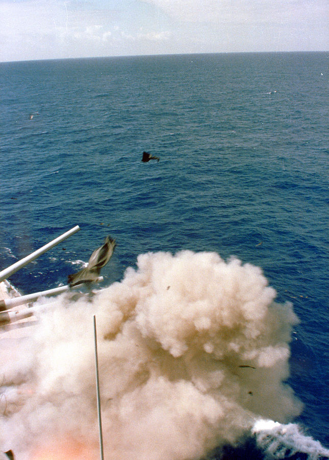 Debris fly as massive explosion rips through the USS Iowa's Turret 2   Image courtesy of Wikimedia Commons