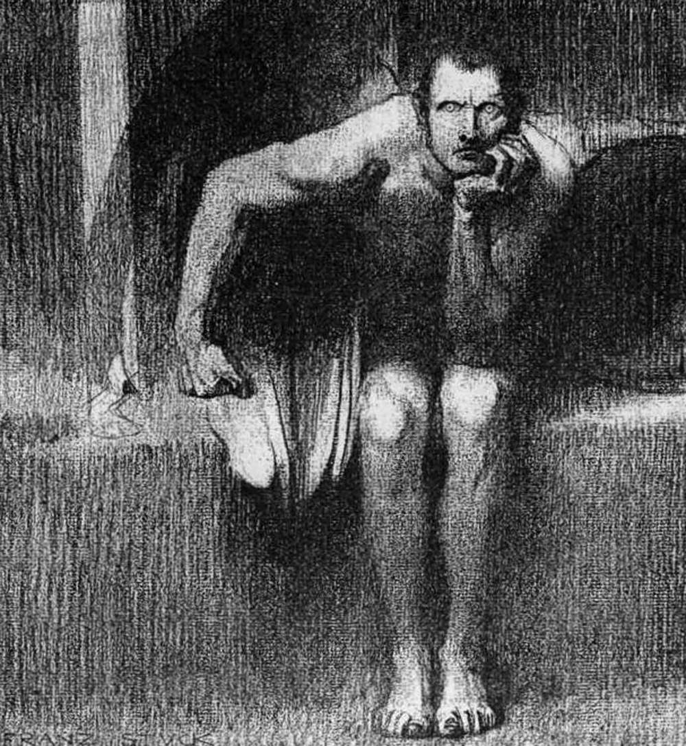 Pensive Satan is pensive.  Lucifer by Franz Stuck, 1890. Courtesy of Wikimedia Commons.