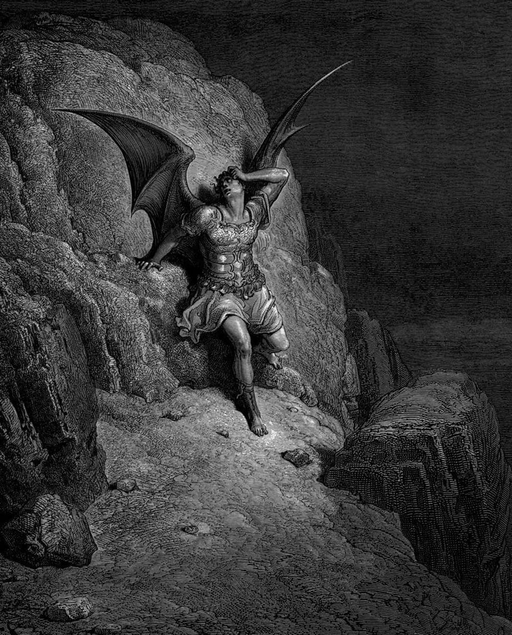 Illustration from  Paradise Lost , an epic poem by John Milton.   Lucifer's Fall from Heaven , by Gustave Doré, circa 1866.  Courtesy Wikimedia Commons.